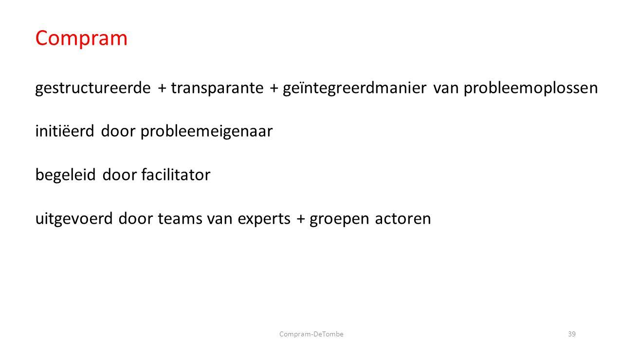 Compram-DeTombe39 Compram gestructureerde + transparante + geïntegreerdmanier van probleemoplossen initiëerd door probleemeigenaar begeleid door facilitator uitgevoerd door teams van experts + groepen actoren