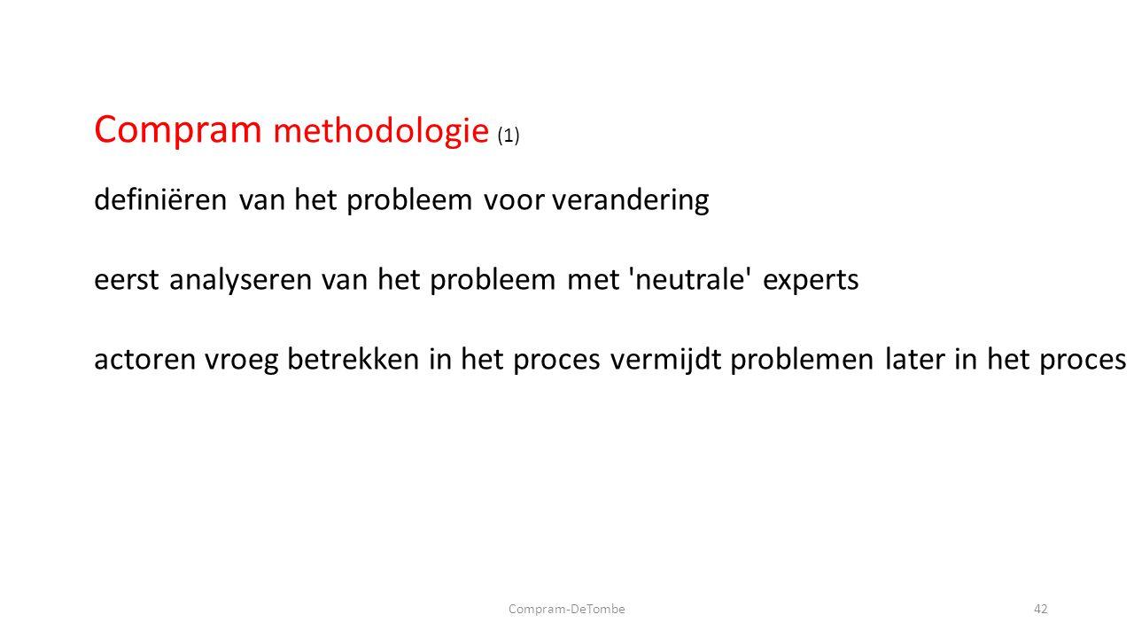 Compram-DeTombe42 Compram methodologie (1) definiëren van het probleem voor verandering eerst analyseren van het probleem met neutrale experts actoren vroeg betrekken in het proces vermijdt problemen later in het proces