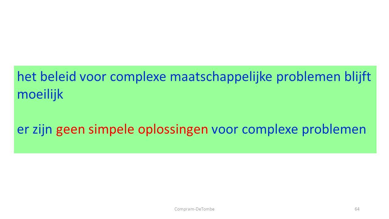 Compram-DeTombe64 het beleid voor complexe maatschappelijke problemen blijft moeilijk er zijn geen simpele oplossingen voor complexe problemen