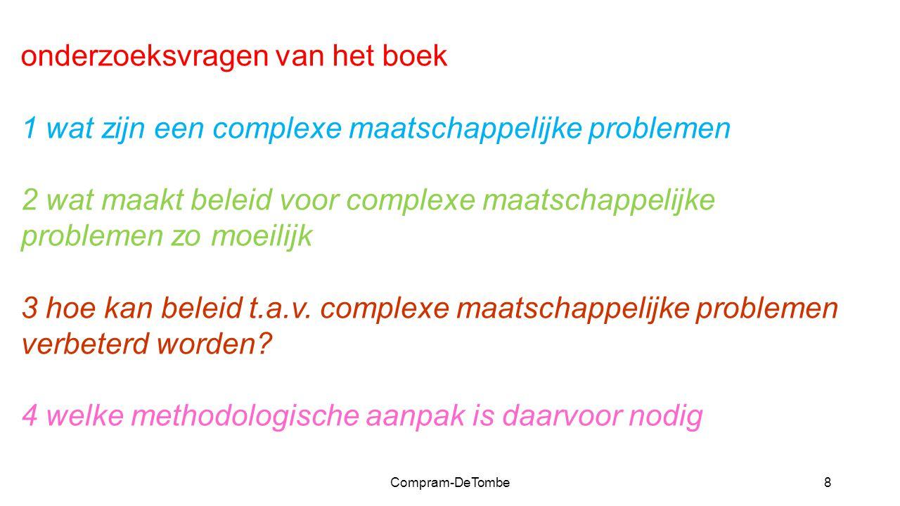 Compram-DeTombe8 onderzoeksvragen van het boek 1 wat zijn een complexe maatschappelijke problemen 2 wat maakt beleid voor complexe maatschappelijke problemen zo moeilijk 3 hoe kan beleid t.a.v.