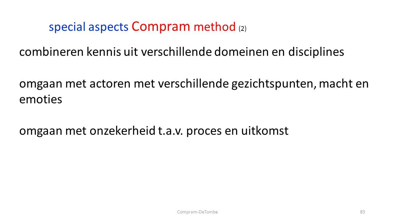 Compram-DeTombe83 special aspects Compram method (2) combineren kennis uit verschillende domeinen en disciplines omgaan met actoren met verschillende gezichtspunten, macht en emoties omgaan met onzekerheid t.a.v.