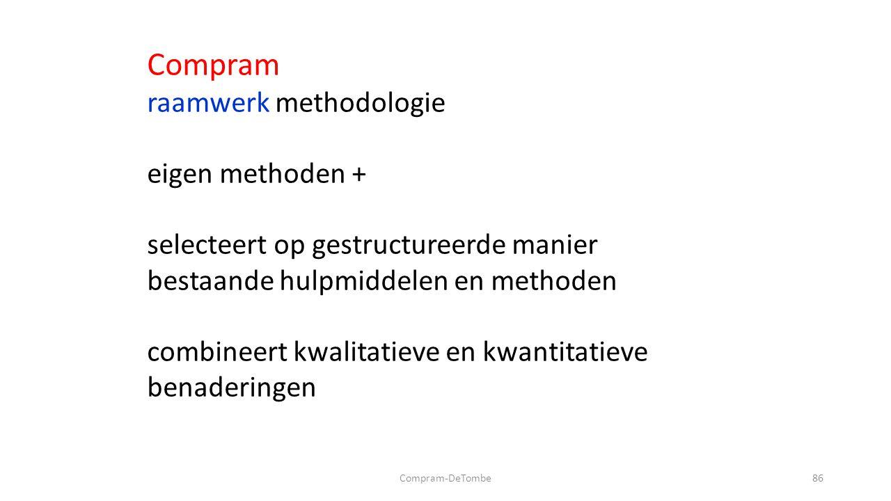 Compram-DeTombe86 Compram raamwerk methodologie eigen methoden + selecteert op gestructureerde manier bestaande hulpmiddelen en methoden combineert kwalitatieve en kwantitatieve benaderingen