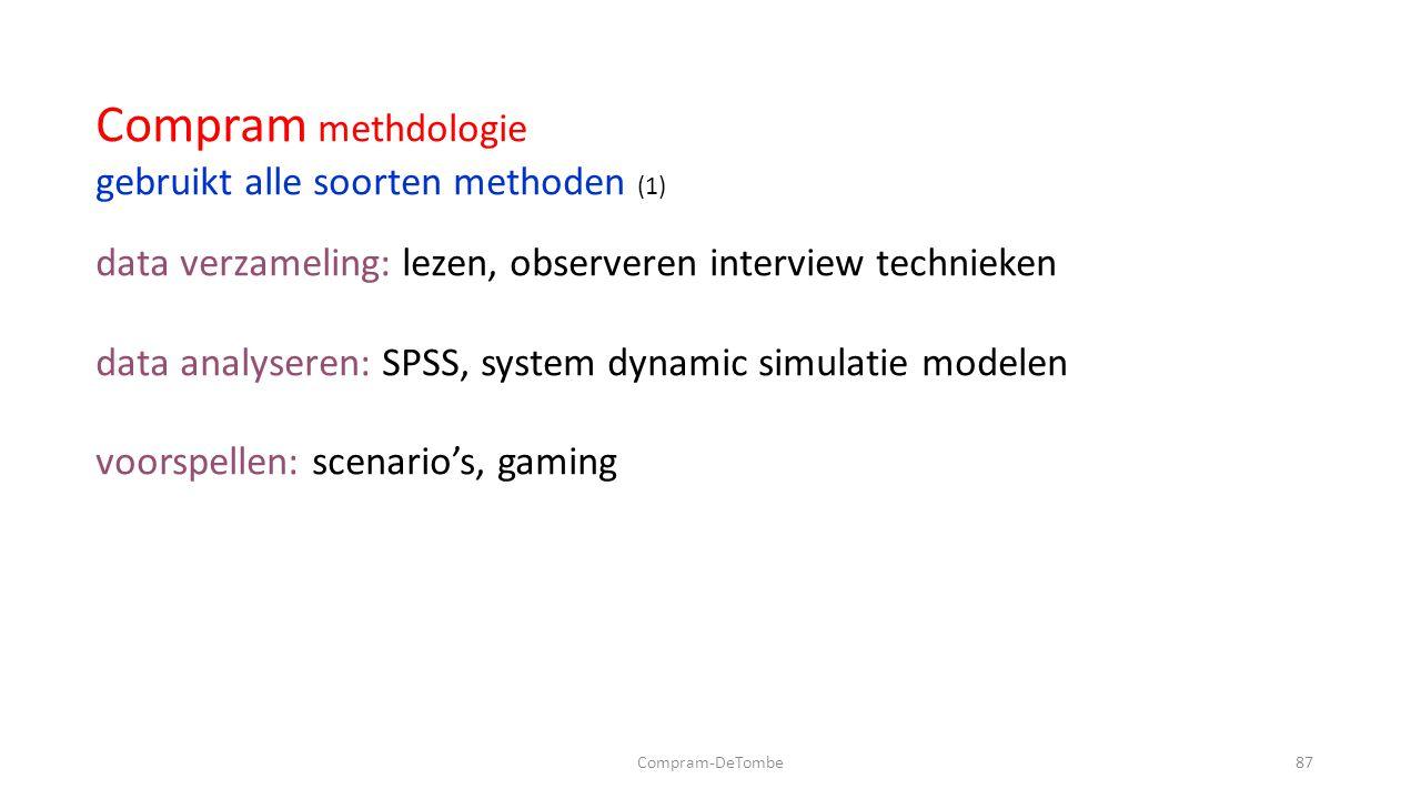 Compram-DeTombe87 Compram methdologie gebruikt alle soorten methoden (1) data verzameling: lezen, observeren interview technieken data analyseren: SPSS, system dynamic simulatie modelen voorspellen: scenario's, gaming
