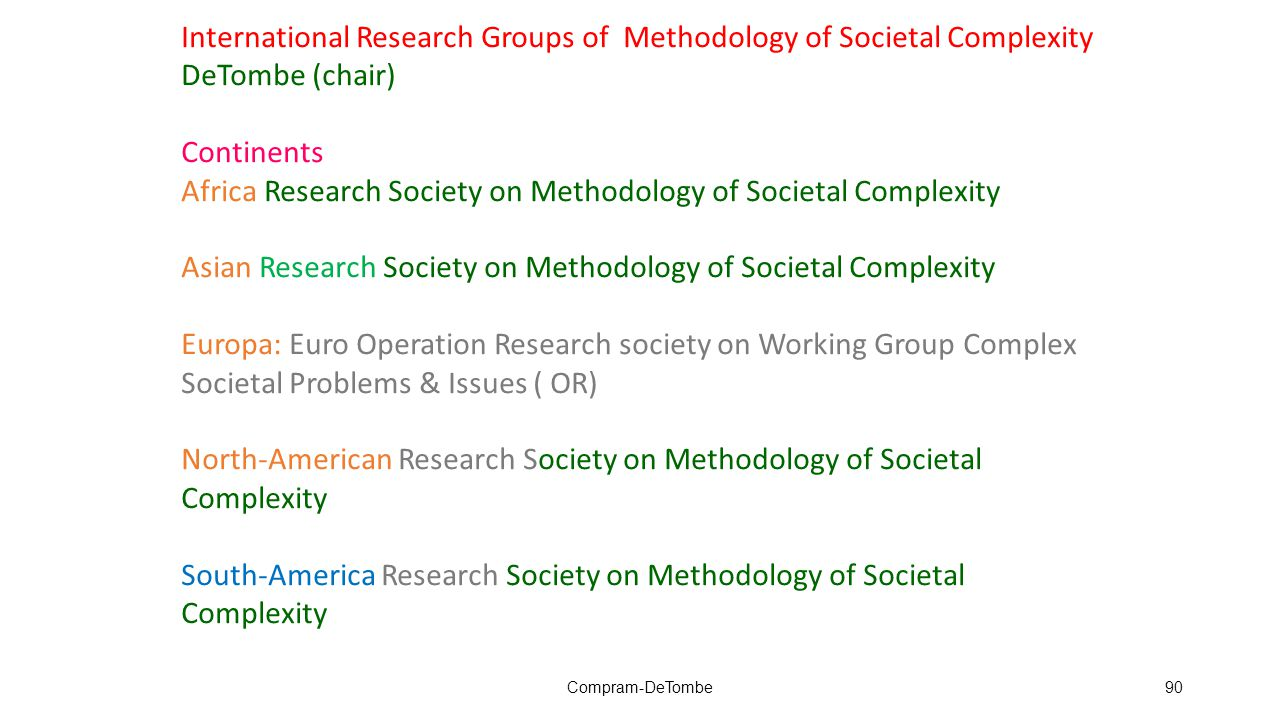 Compram-DeTombe90 International Research Groups of Methodology of Societal Complexity DeTombe (chair) Continents Africa Research Society on Methodolog