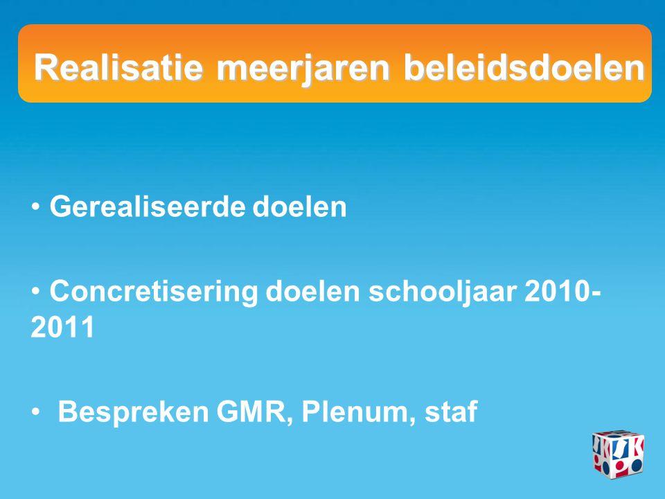 Realisatie meerjaren beleidsdoelen Gerealiseerde doelen Concretisering doelen schooljaar 2010- 2011 Bespreken GMR, Plenum, staf