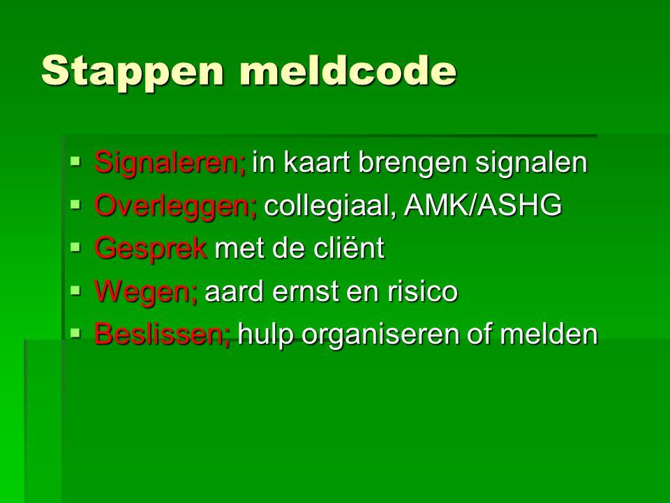 Stappen meldcode  Signaleren; in kaart brengen signalen  Overleggen; collegiaal, AMK/ASHG  Gesprek met de cliënt  Wegen; aard ernst en risico  Be