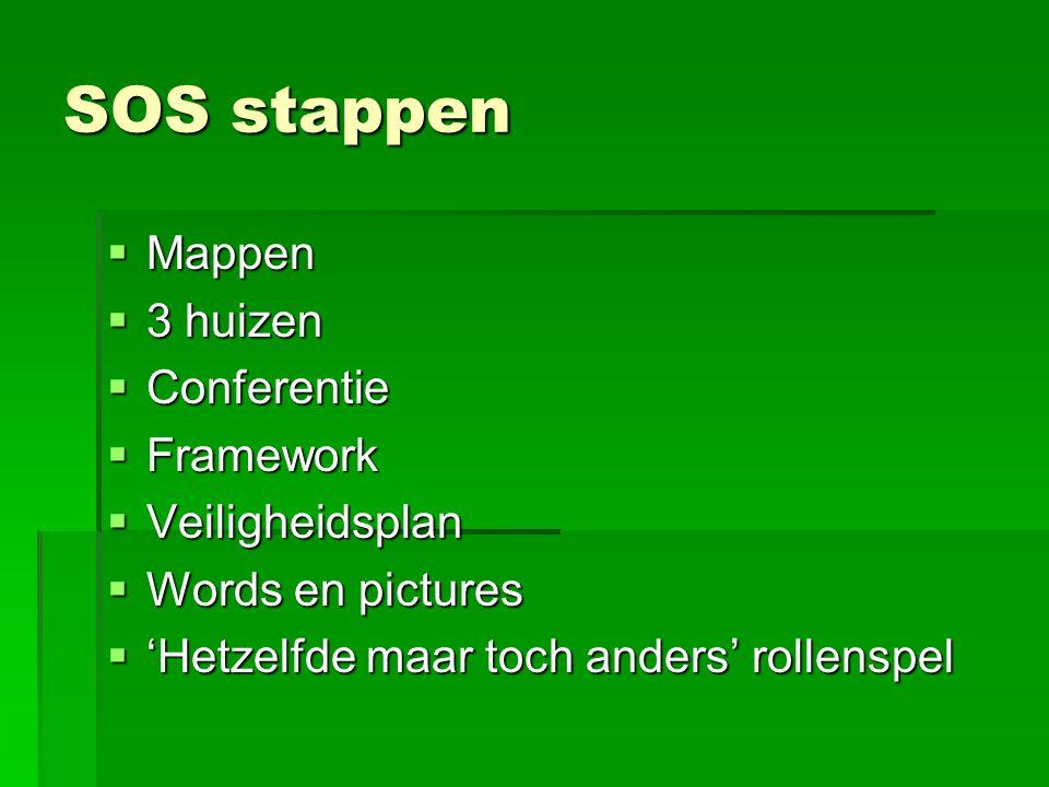 SOS stappen  Mappen  3 huizen  Conferentie  Framework  Veiligheidsplan  Words en pictures  'Hetzelfde maar toch anders' rollenspel