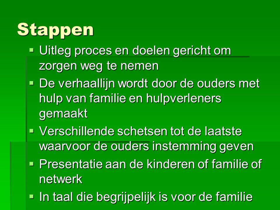 Stappen  Uitleg proces en doelen gericht om zorgen weg te nemen  De verhaallijn wordt door de ouders met hulp van familie en hulpverleners gemaakt 