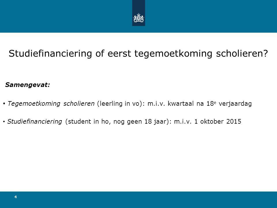44 Samengevat: Tegemoetkoming scholieren (leerling in vo): m.i.v. kwartaal na 18 e verjaardag Studiefinanciering (student in ho, nog geen 18 jaar): m.
