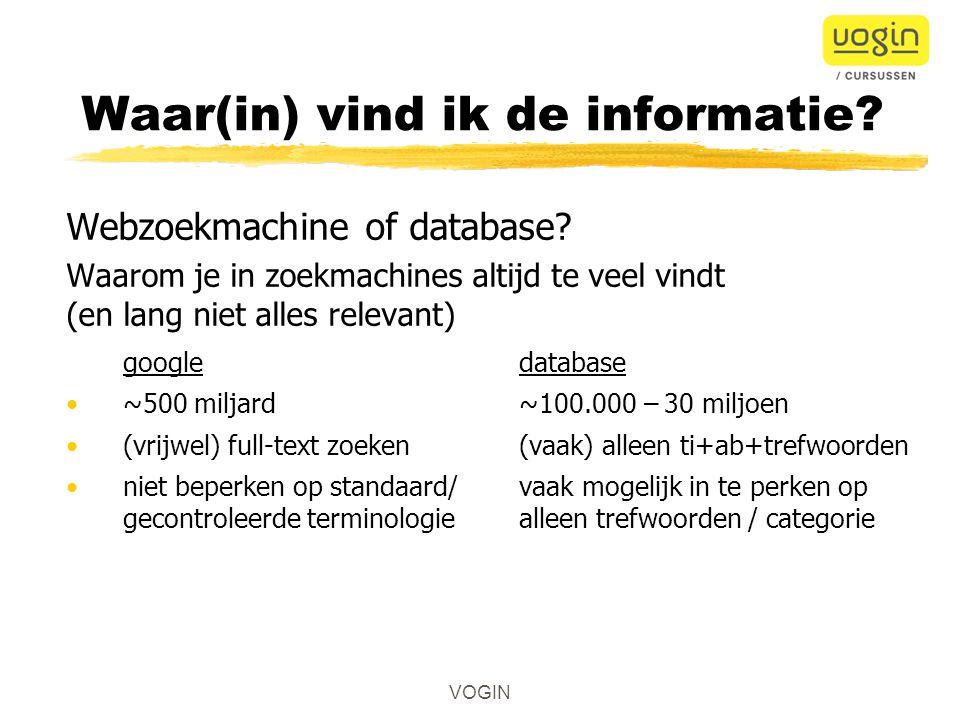 Webzoekmachine of database.