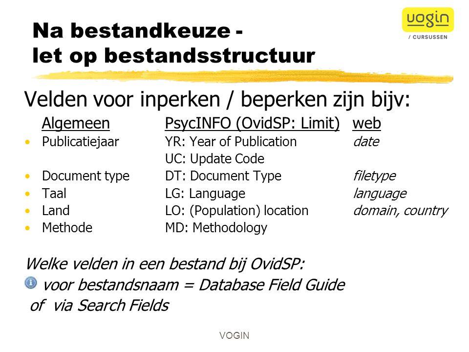 VOGIN Zoekprofiel Rekening houden met: 1.Volledigheid vraagformulering alle aspecten opnemen .