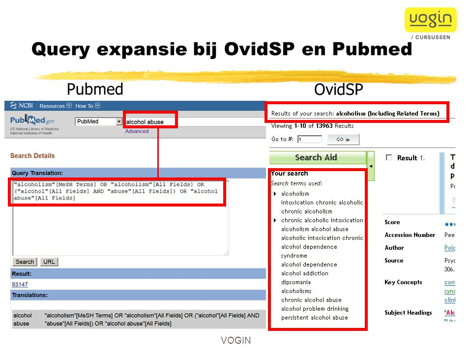 Query expansie bij OvidSP en Pubmed Pubmed OvidSP