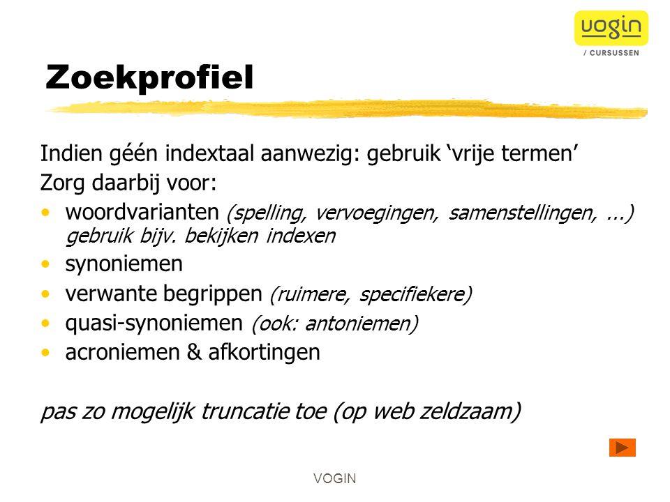 VOGIN Zoektermen descriptoren of vrije termen .1.