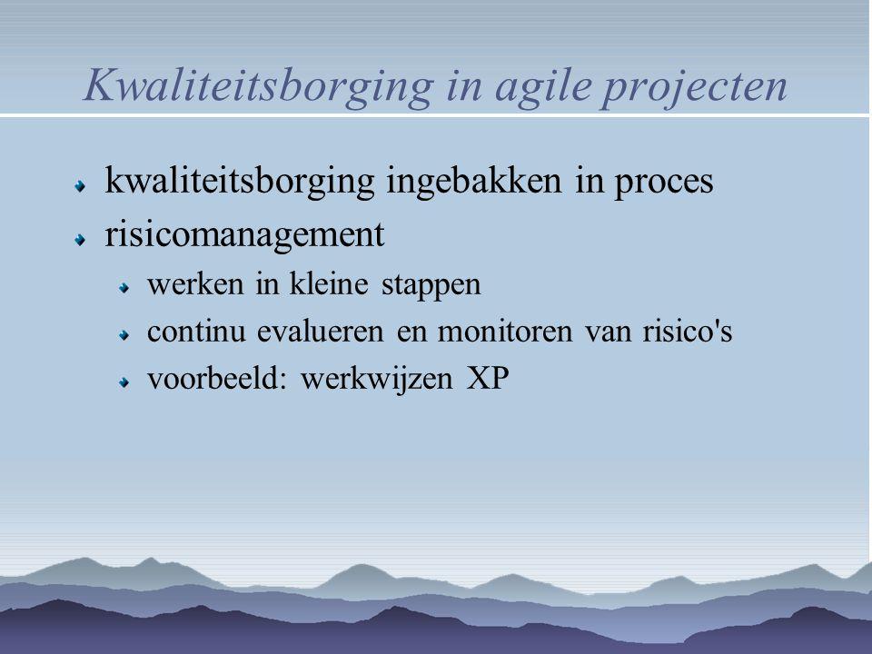 Kwaliteitsborging in agile projecten kwaliteitsborging ingebakken in proces risicomanagement werken in kleine stappen continu evalueren en monitoren v
