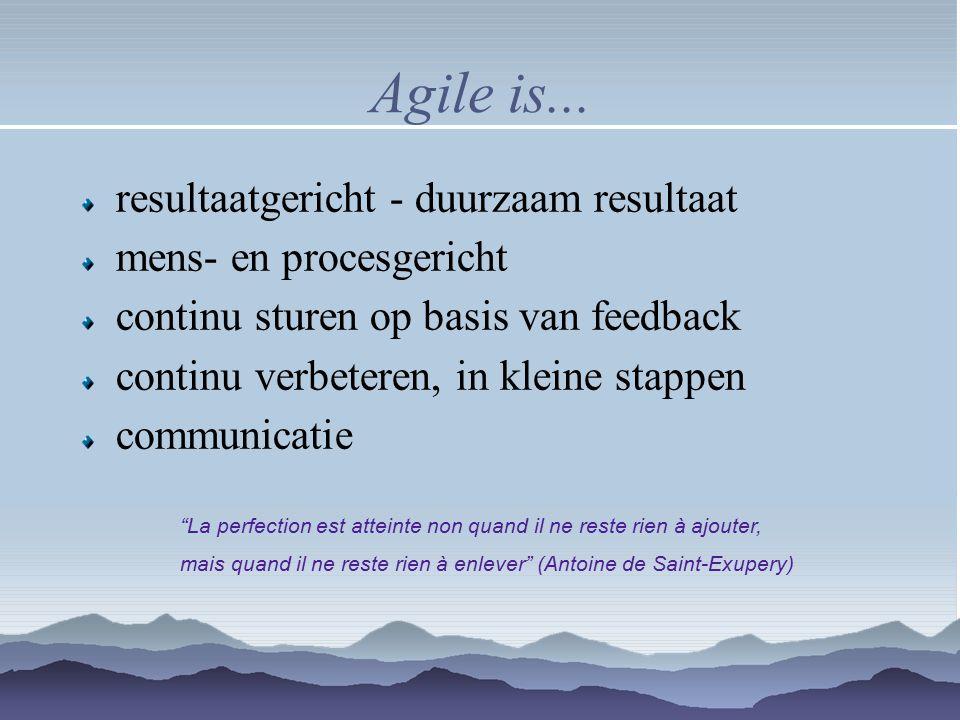 Agile is... resultaatgericht - duurzaam resultaat mens- en procesgericht continu sturen op basis van feedback continu verbeteren, in kleine stappen co