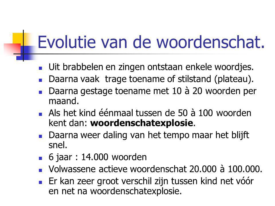 Evolutie van de woordenschat. Uit brabbelen en zingen ontstaan enkele woordjes. Daarna vaak trage toename of stilstand (plateau). Daarna gestage toena