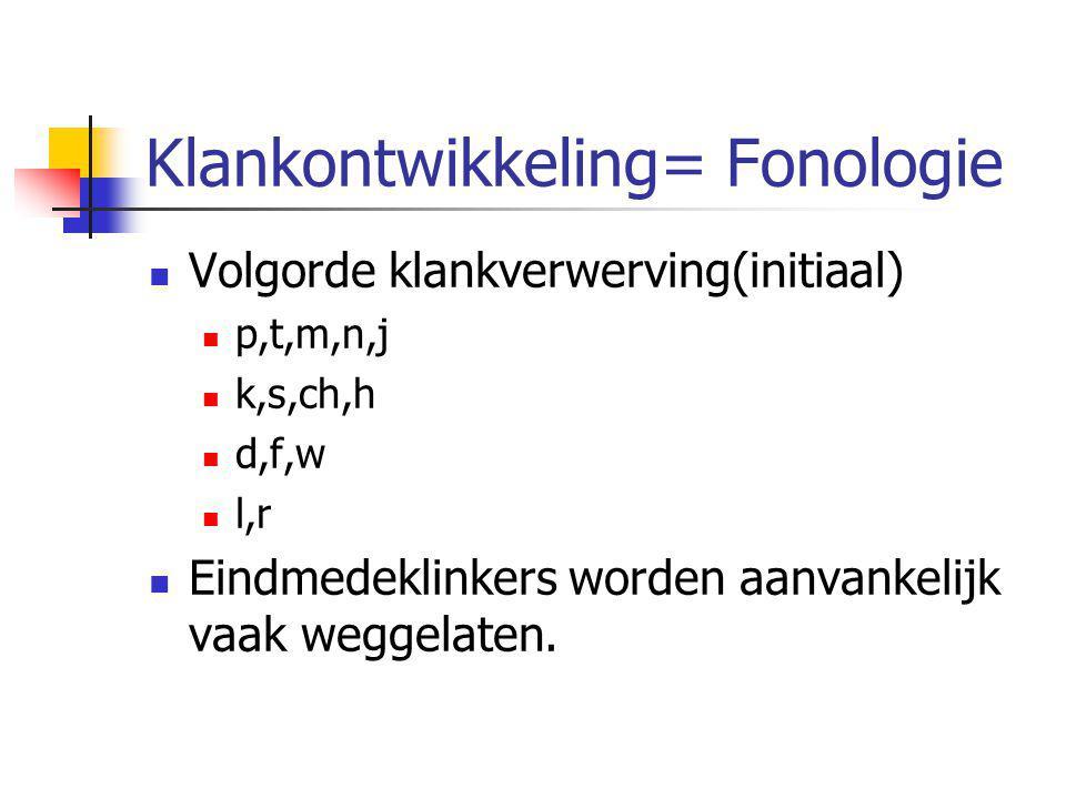Klankontwikkeling= Fonologie Volgorde klankverwerving(initiaal) p,t,m,n,j k,s,ch,h d,f,w l,r Eindmedeklinkers worden aanvankelijk vaak weggelaten.