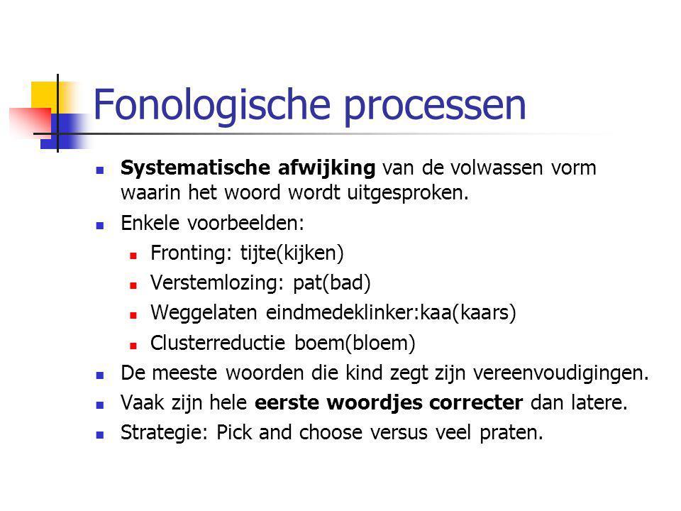 Fonologische processen Systematische afwijking van de volwassen vorm waarin het woord wordt uitgesproken. Enkele voorbeelden: Fronting: tijte(kijken)