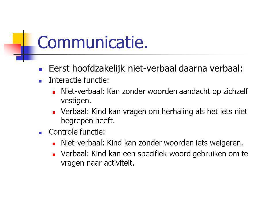 Communicatie. Eerst hoofdzakelijk niet-verbaal daarna verbaal: Interactie functie: Niet-verbaal: Kan zonder woorden aandacht op zichzelf vestigen. Ver