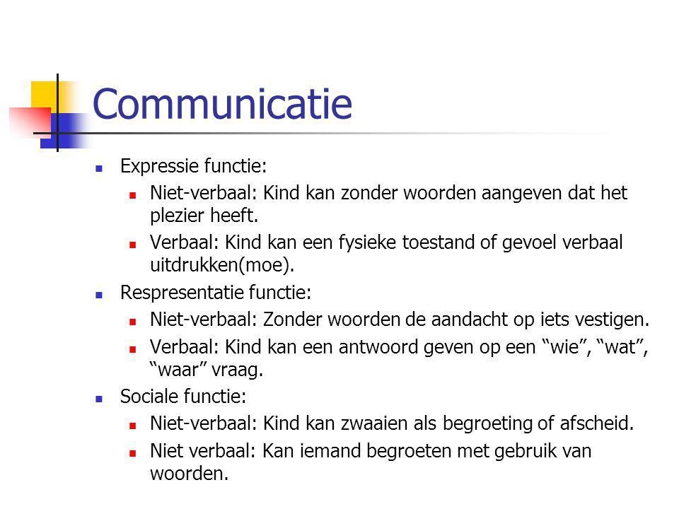 Communicatie Expressie functie: Niet-verbaal: Kind kan zonder woorden aangeven dat het plezier heeft. Verbaal: Kind kan een fysieke toestand of gevoel