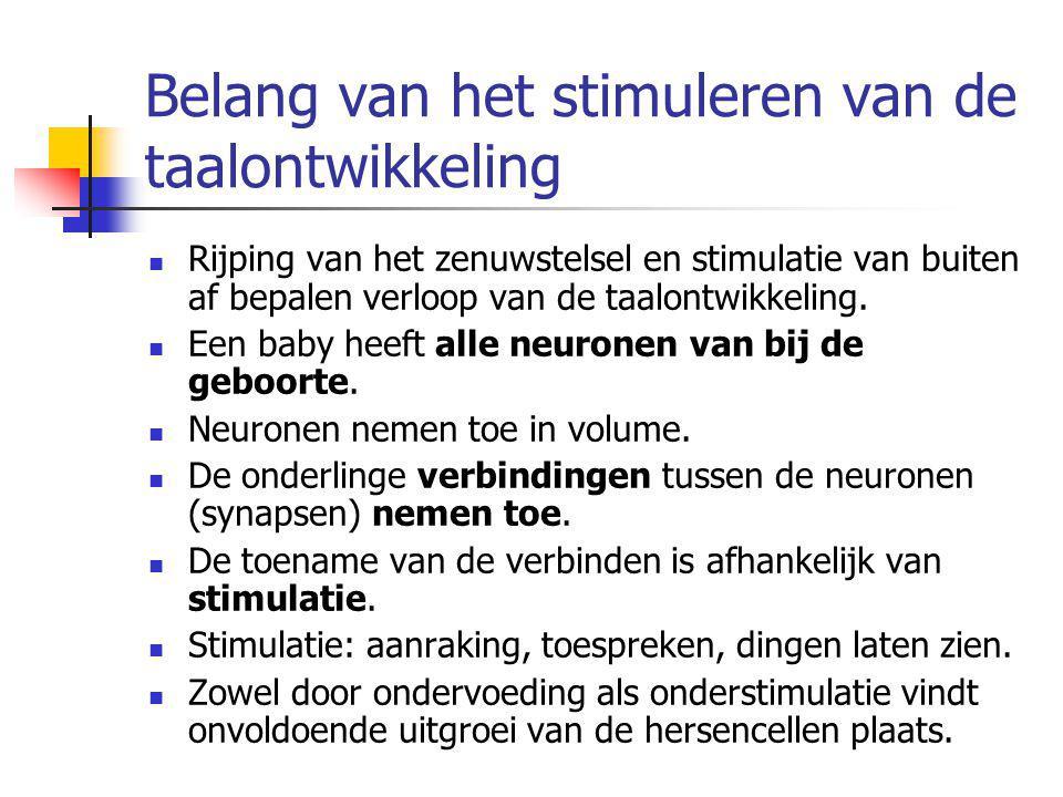 Belang van het stimuleren van de taalontwikkeling Rijping van het zenuwstelsel en stimulatie van buiten af bepalen verloop van de taalontwikkeling. Ee