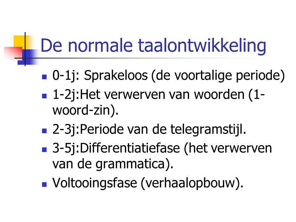 De normale taalontwikkeling 0-1j: Sprakeloos (de voortalige periode) 1-2j:Het verwerven van woorden (1- woord-zin). 2-3j:Periode van de telegramstijl.