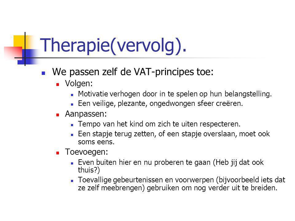 Therapie(vervolg). We passen zelf de VAT-principes toe: Volgen: Motivatie verhogen door in te spelen op hun belangstelling. Een veilige, plezante, ong