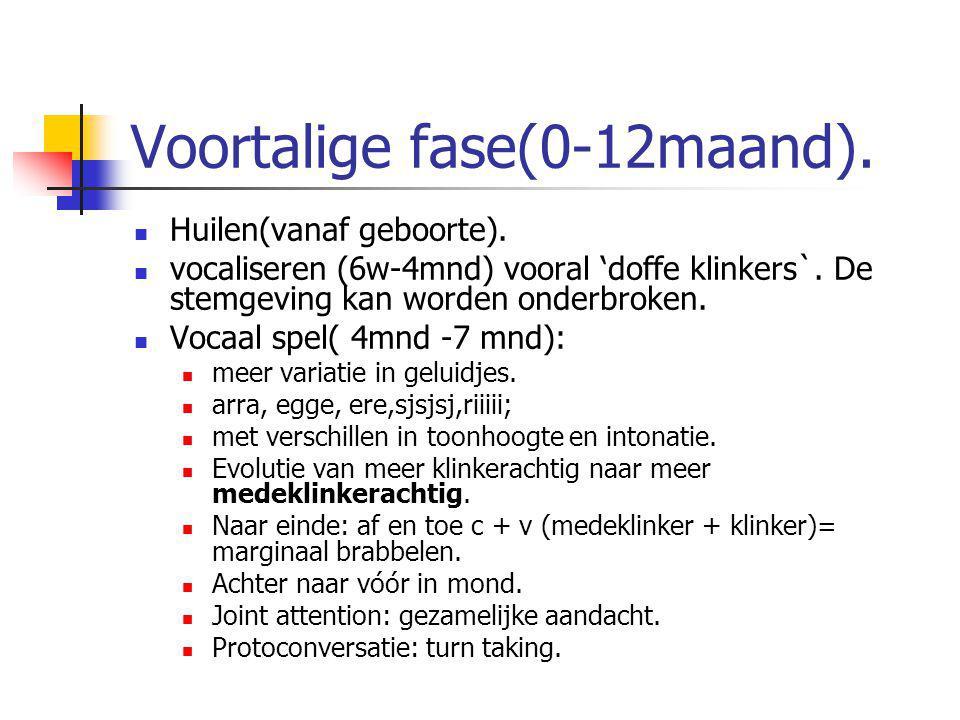 Voortalige fase(0-12maand). Huilen(vanaf geboorte). vocaliseren (6w-4mnd) vooral 'doffe klinkers`. De stemgeving kan worden onderbroken. Vocaal spel(