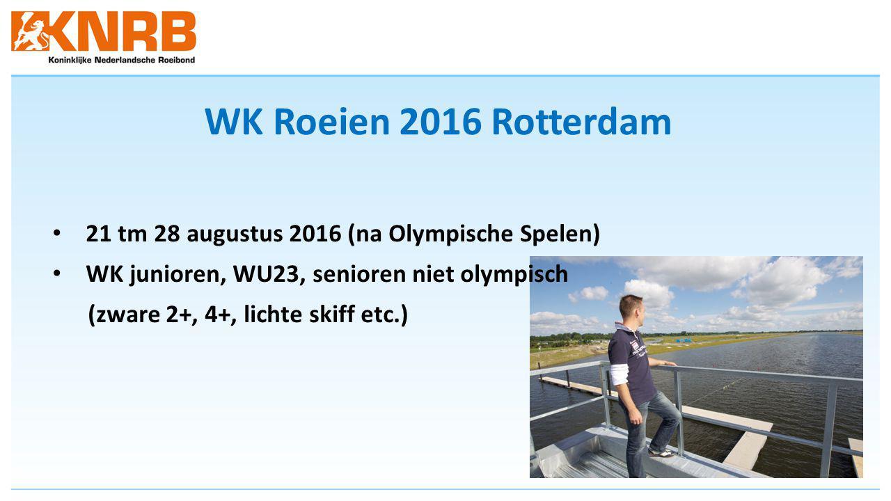 WK Roeien 2016 Rotterdam 21 tm 28 augustus 2016 (na Olympische Spelen) WK junioren, WU23, senioren niet olympisch (zware 2+, 4+, lichte skiff etc.)