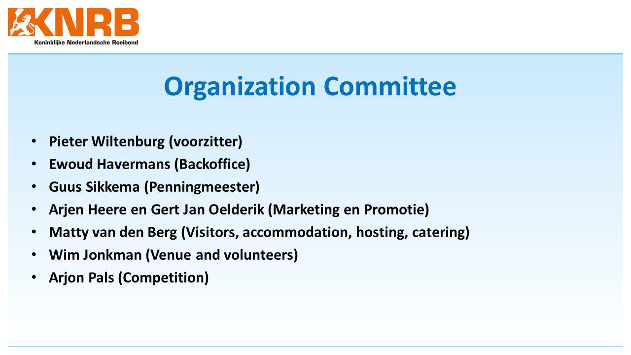 Organization Committee Pieter Wiltenburg (voorzitter) Ewoud Havermans (Backoffice) Guus Sikkema (Penningmeester) Arjen Heere en Gert Jan Oelderik (Marketing en Promotie) Matty van den Berg (Visitors, accommodation, hosting, catering) Wim Jonkman (Venue and volunteers) Arjon Pals (Competition)