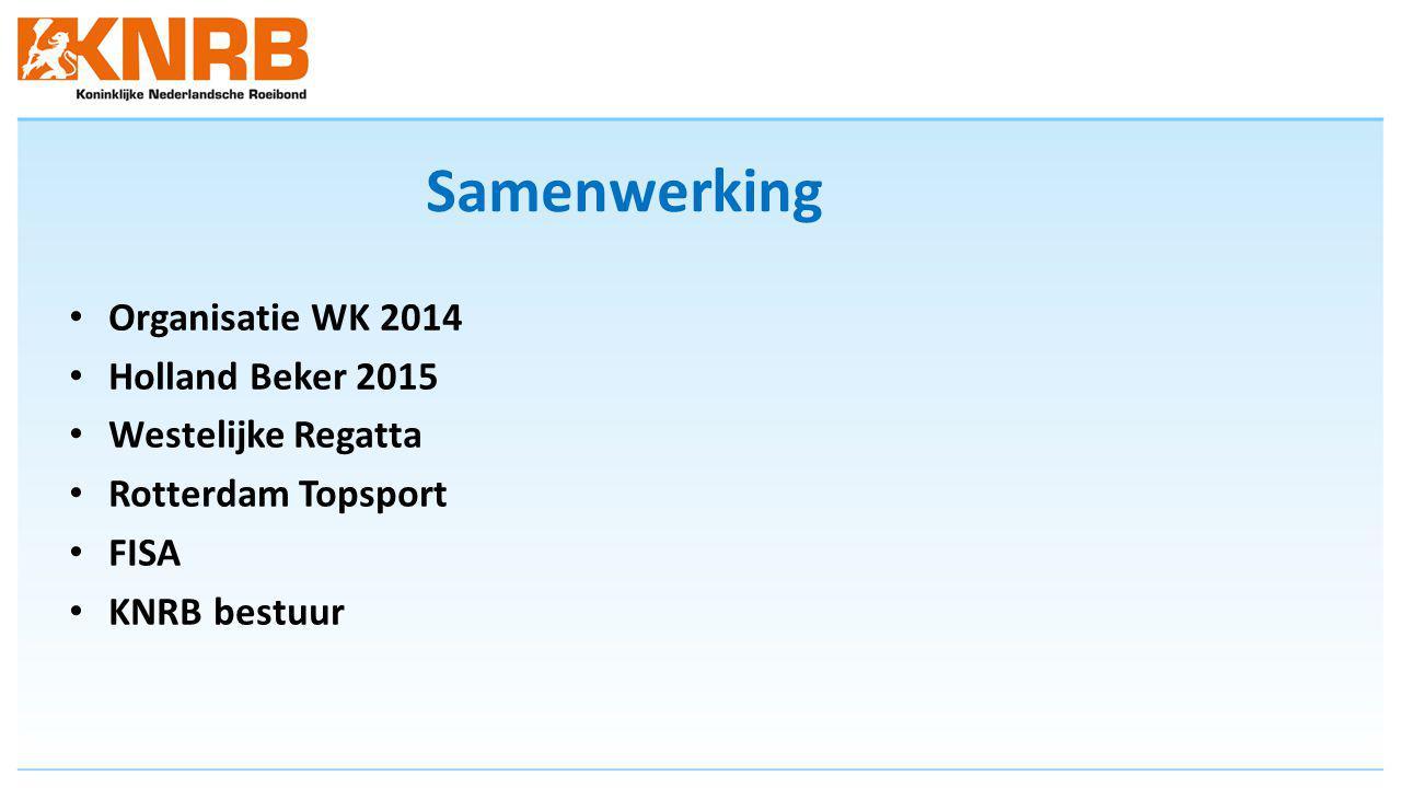 Samenwerking Organisatie WK 2014 Holland Beker 2015 Westelijke Regatta Rotterdam Topsport FISA KNRB bestuur