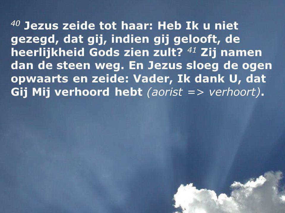 40 Jezus zeide tot haar: Heb Ik u niet gezegd, dat gij, indien gij gelooft, de heerlijkheid Gods zien zult.