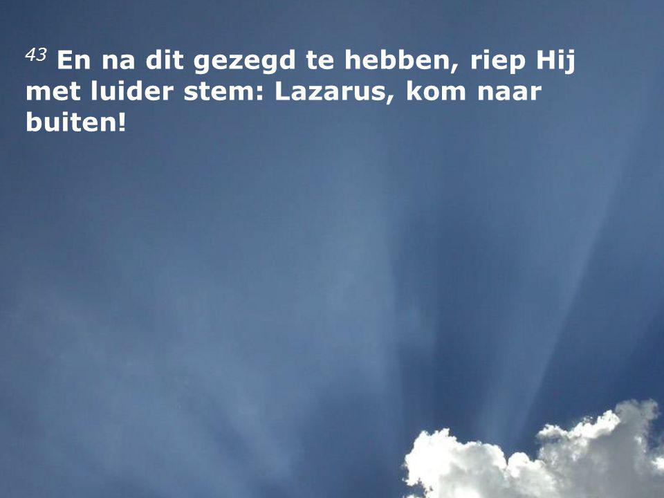 43 En na dit gezegd te hebben, riep Hij met luider stem: Lazarus, kom naar buiten!