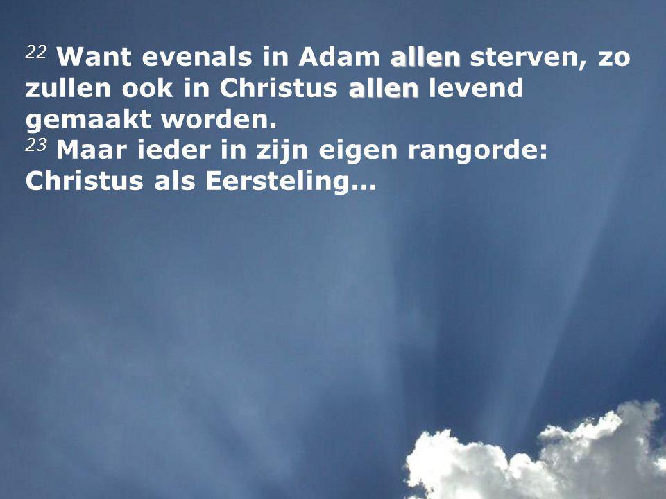 allen allen 22 Want evenals in Adam allen sterven, zo zullen ook in Christus allen levend gemaakt worden.