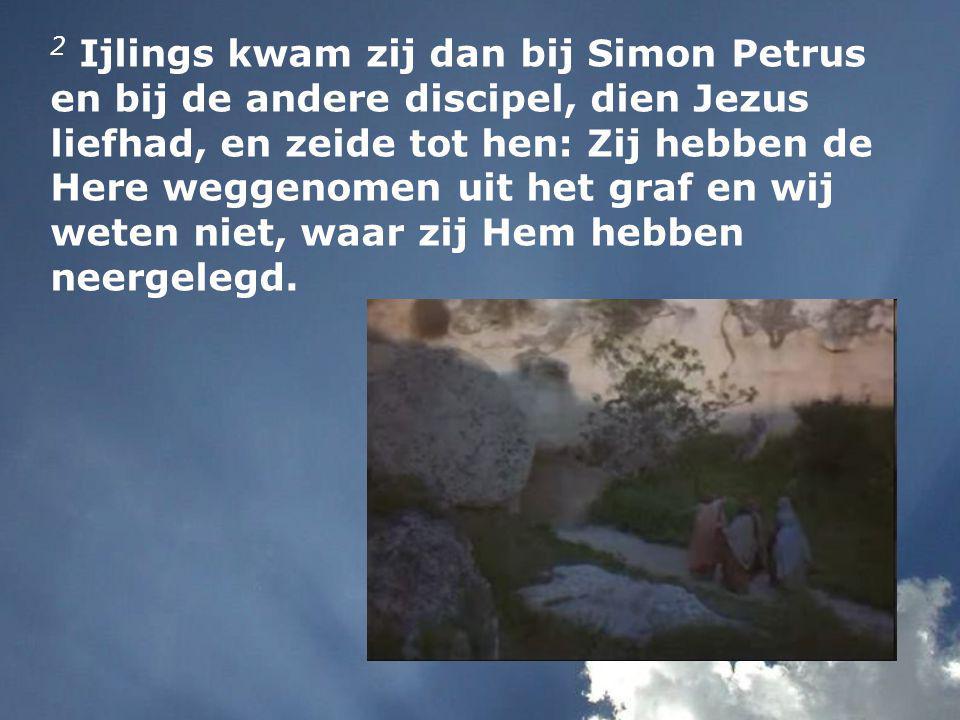 2 Ijlings kwam zij dan bij Simon Petrus en bij de andere discipel, dien Jezus liefhad, en zeide tot hen: Zij hebben de Here weggenomen uit het graf en wij weten niet, waar zij Hem hebben neergelegd.