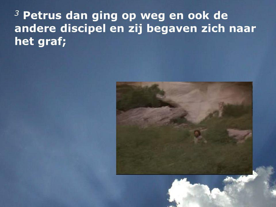 3 Petrus dan ging op weg en ook de andere discipel en zij begaven zich naar het graf;