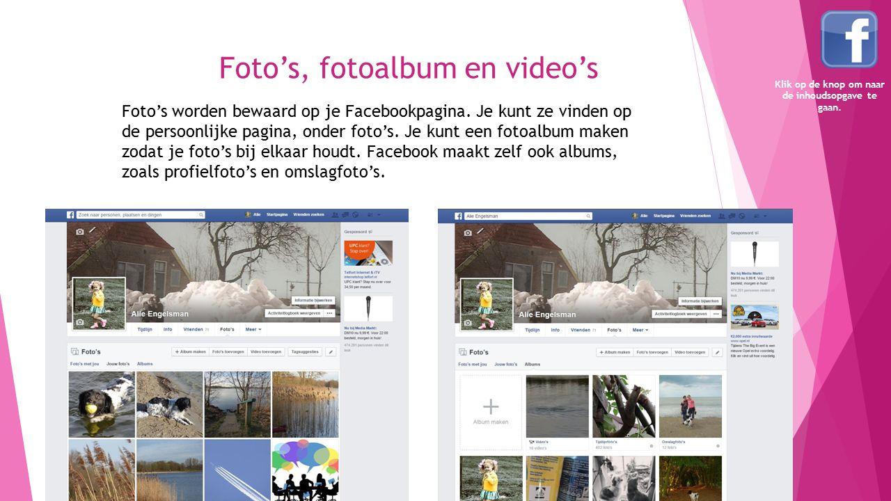 Foto's, fotoalbum en video's Foto's worden bewaard op je Facebookpagina. Je kunt ze vinden op de persoonlijke pagina, onder foto's. Je kunt een fotoal