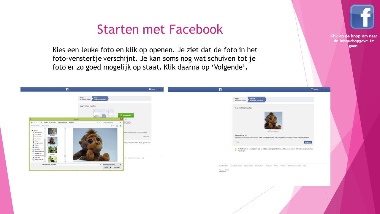 Starten met Facebook Kies een leuke foto en klik op openen. Je ziet dat de foto in het foto-venstertje verschijnt. Je kan soms nog wat schuiven tot je