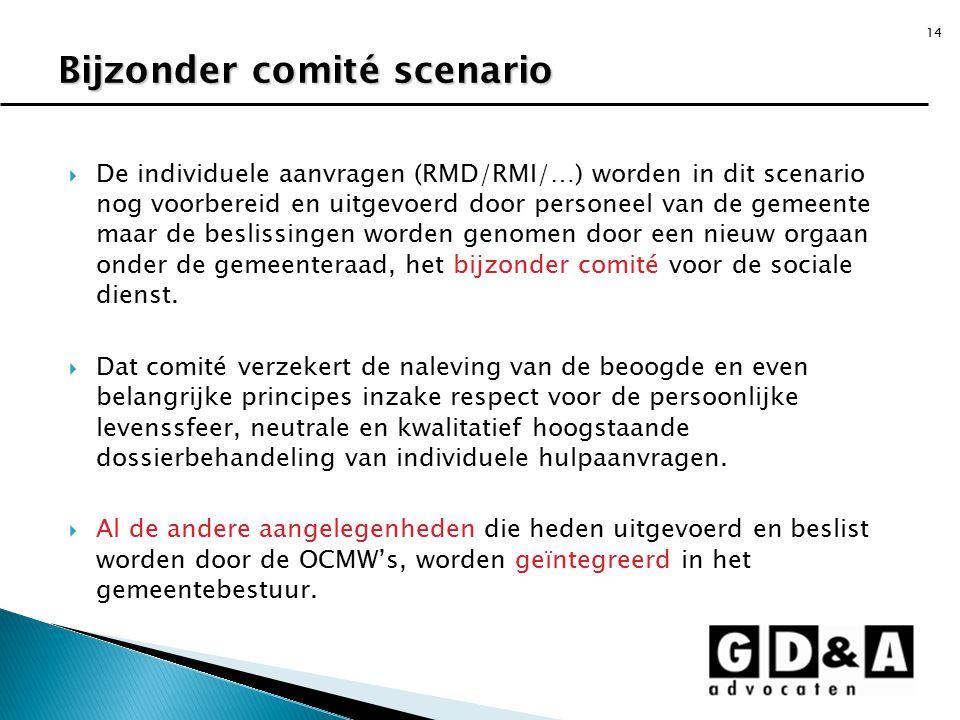 14  De individuele aanvragen (RMD/RMI/…) worden in dit scenario nog voorbereid en uitgevoerd door personeel van de gemeente maar de beslissingen word