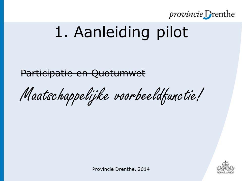 1. Aanleiding pilot Participatie en Quotumwet Maatschappelijke voorbeeldfunctie! Provincie Drenthe, 2014