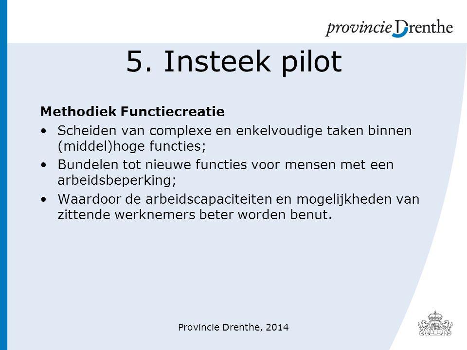 5. Insteek pilot Methodiek Functiecreatie Scheiden van complexe en enkelvoudige taken binnen (middel)hoge functies; Bundelen tot nieuwe functies voor