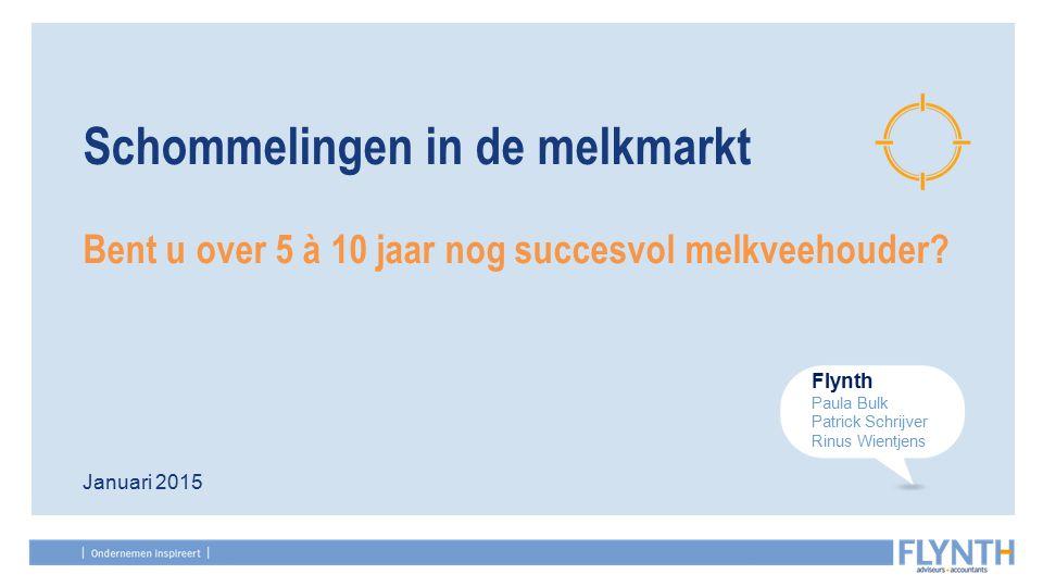 Januari 2015 Schommelingen in de melkmarkt Bent u over 5 à 10 jaar nog succesvol melkveehouder.
