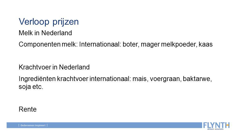 Verloop prijzen Melk in Nederland Componenten melk: Internationaal: boter, mager melkpoeder, kaas Krachtvoer in Nederland Ingrediënten krachtvoer internationaal: mais, voergraan, baktarwe, soja etc.