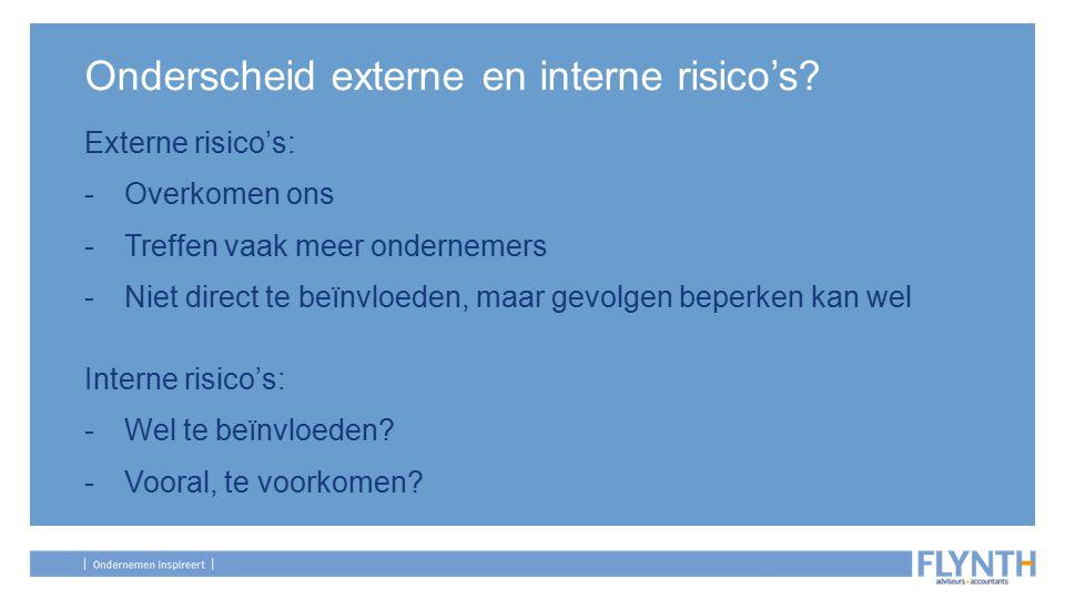 Onderscheid externe en interne risico's.