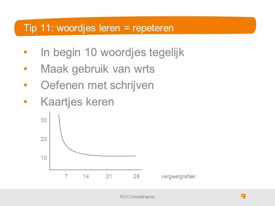 Tip 11: woordjes leren = repeteren In begin 10 woordjes tegelijk Maak gebruik van wrts Oefenen met schrijven Kaartjes keren 30 20 10 7 142128vergeetgr