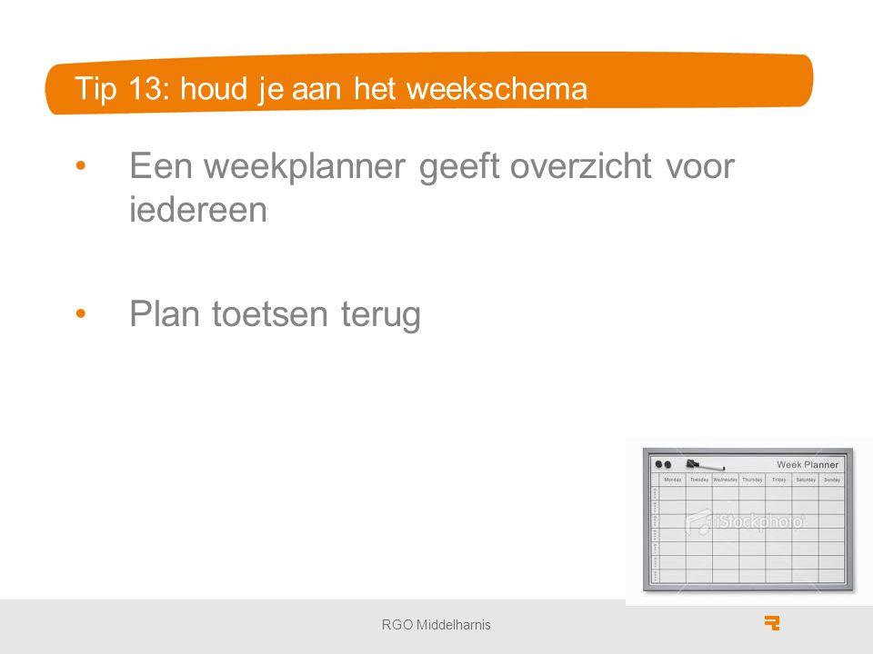 Tip 13: houd je aan het weekschema Een weekplanner geeft overzicht voor iedereen Plan toetsen terug RGO Middelharnis