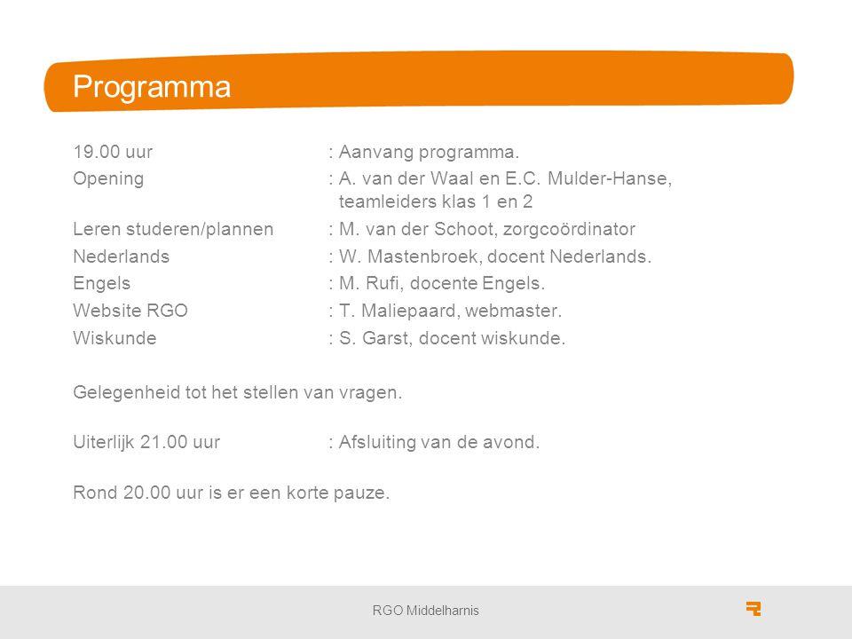 RGO Middelharnis Programma 19.00 uur: Aanvang programma. Opening: A. van der Waal en E.C. Mulder-Hanse, teamleiders klas 1 en 2 Leren studeren/plannen