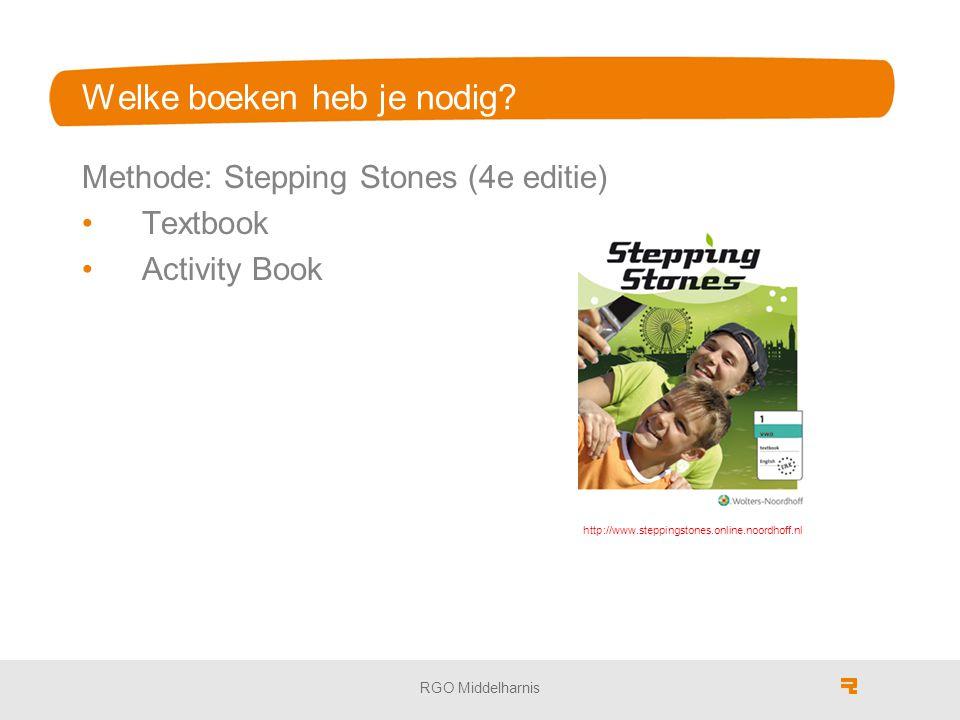 RGO Middelharnis Welke boeken heb je nodig? Methode: Stepping Stones (4e editie) Textbook Activity Book http://www.steppingstones.online.noordhoff.nl