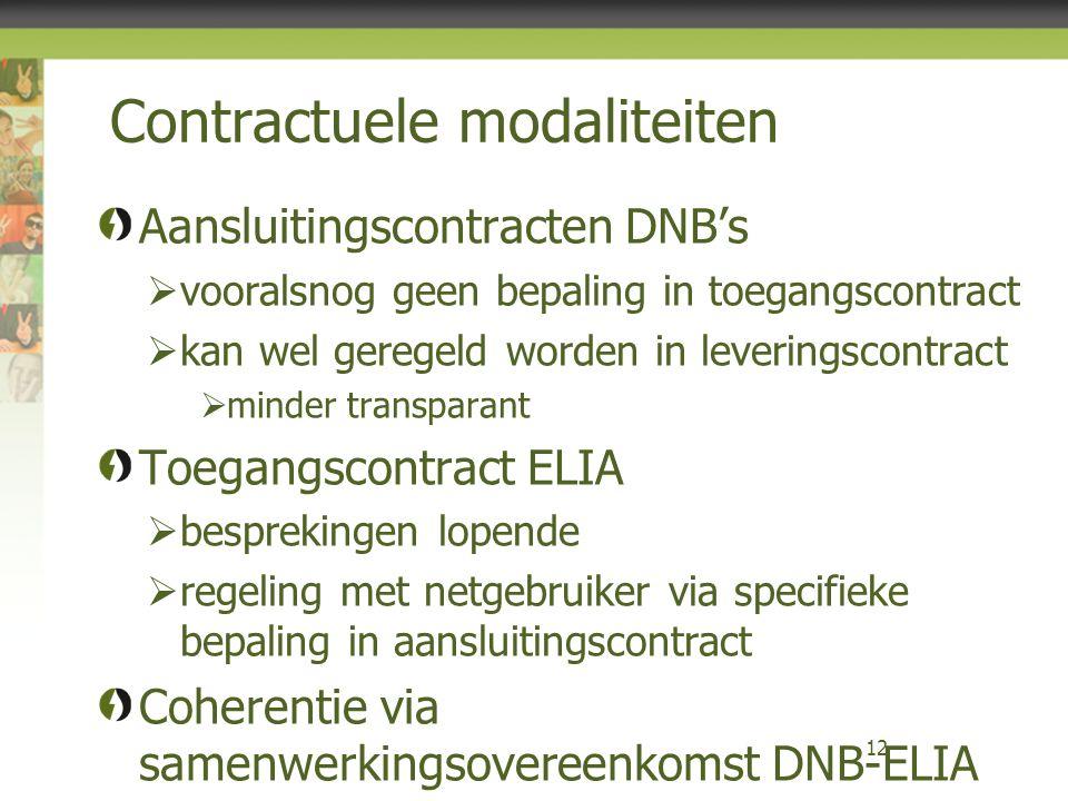 Contractuele modaliteiten Aansluitingscontracten DNB's  vooralsnog geen bepaling in toegangscontract  kan wel geregeld worden in leveringscontract  minder transparant Toegangscontract ELIA  besprekingen lopende  regeling met netgebruiker via specifieke bepaling in aansluitingscontract Coherentie via samenwerkingsovereenkomst DNB-ELIA 12