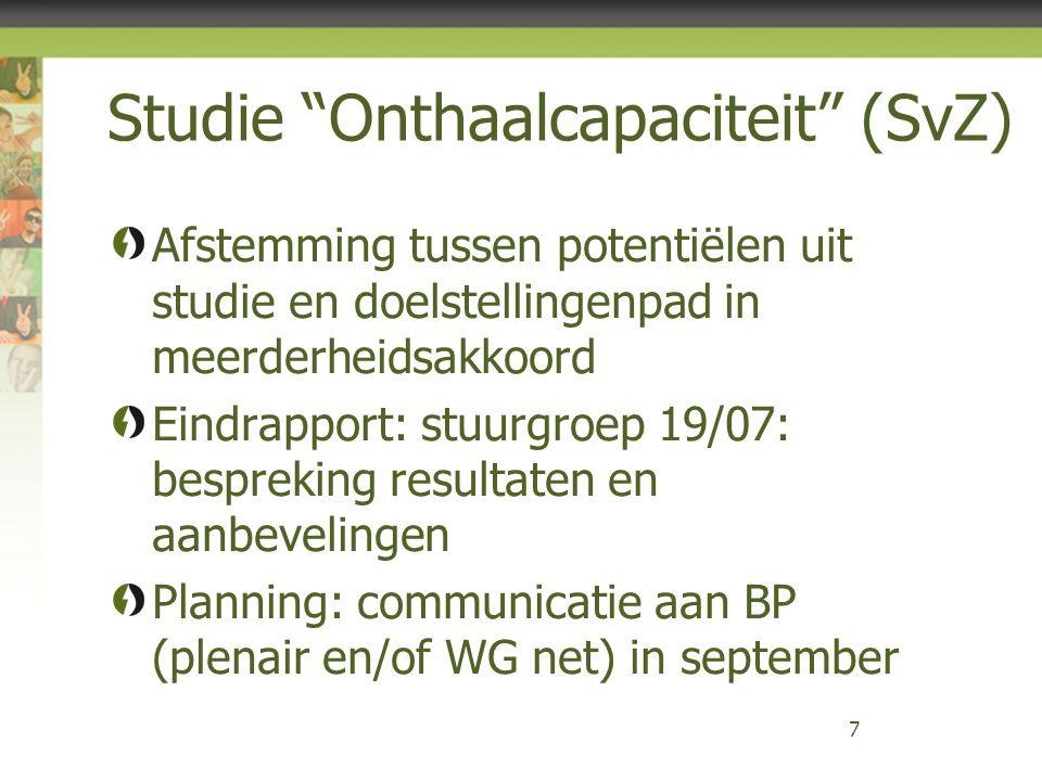 Studie Onthaalcapaciteit (SvZ) Afstemming tussen potentiëlen uit studie en doelstellingenpad in meerderheidsakkoord Eindrapport: stuurgroep 19/07: bespreking resultaten en aanbevelingen Planning: communicatie aan BP (plenair en/of WG net) in september 7